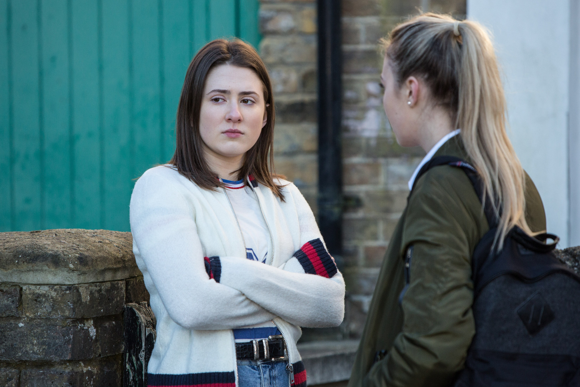 WARNING: Embargoed for publication until 00:00:01 on 28/02/2017 - Programme Name: EastEnders - January-March 2017 - TX: 09/03/2017 - Episode: EastEnders - January-March 2017 - 5455 (No. n/a) - Picture Shows: *STRICTLY NOT FOR PUBLICATION UNTIL 00:01HRS, TUESDAY 28th FEBRUARY, 2017* Bex & Louise discuss recent events. Bex Fowler (JASMINE ARMFIELD), Louise Mitchell (TILLY KEEPER) - (C) BBC - Photographer: Jack Barnes