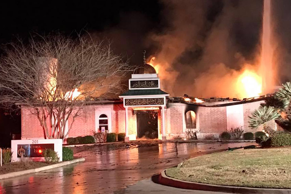 The mosque was destroyed in a fire (Picture: Victoria Islamic Center/Facebook)