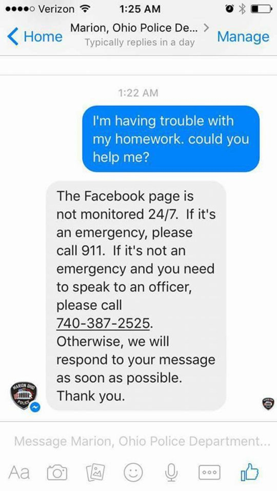 Girl contacts police for homework help – they get the answer