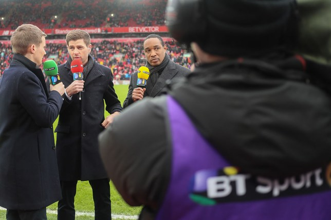 LIVERPOOL, ENGLAND - JANUARY 28: Steven Gerrard and Paul Ince whilst broadcasting for BT Sport during The Emirates FA Cup Fourth Round between Liverpool and Wolverhampton Wanderers at Anfield on January 28, 2017 in Liverpool, England. (Photo by Matthew Ashton - AMA/Getty Images)