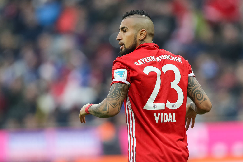 MUNICH, GERMANY - FEBRUARY 04: Arturo Erasmo Vidal of FC Bayern Muenchen looks on during the Bundesliga match between Bayern Muenchen and FC Schalke 04 at Allianz Arena on February 4, 2017 in Munich, Germany. (Photo by TF-Images/Getty Images)