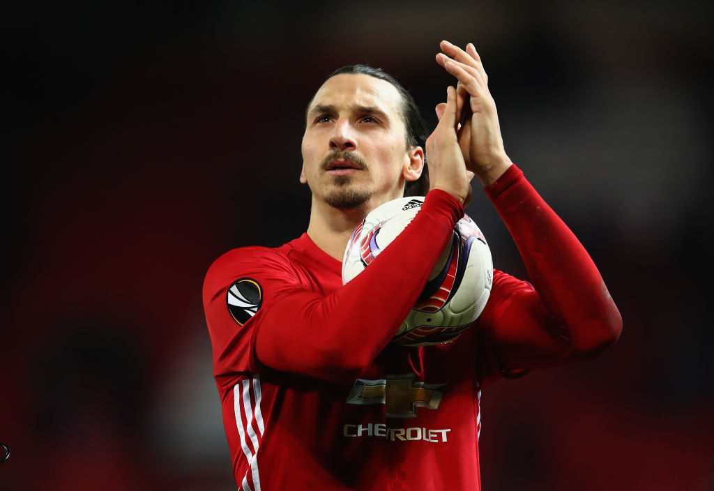 MANCHESTER, ENGLAND - FEBRUARY 16: Zlatan Ibrahimovic of Manchester United leaves the pitch with the match ball after scoring a hat-trick during the UEFA Europa League Round of 32 first leg match between Manchester United and AS Saint-Etienne at Old Trafford on February 16, 2017 in Manchester, United Kingdom. (Photo by Clive Brunskill/Getty Images)