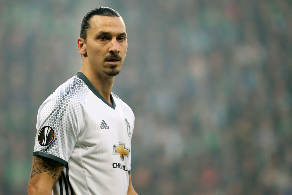 SAINT-ETIENNE, FRANCE - FEBRUARY 22: Zlatan Ibrahimovic of Manchester United looks on during the UEFA Europa League Round of 32 second leg match between AS Saint-Etienne (ASSE) and Manchester United at Stade Geoffroy-Guichard on February 22, 2017 in Saint-Etienne, France. (Photo by Jean Catuffe/Getty Images)