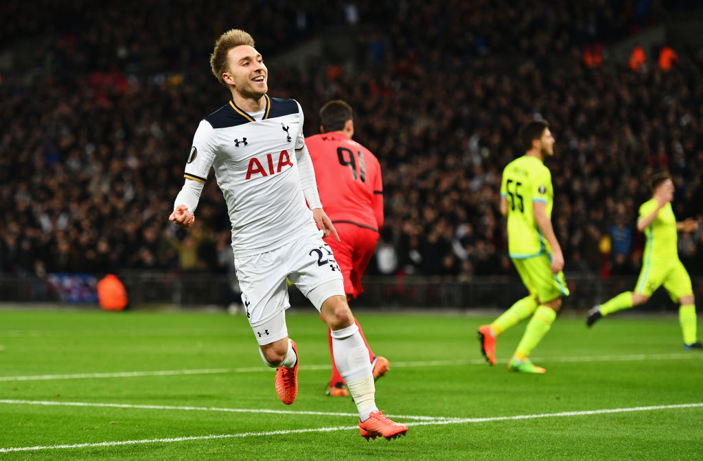 LONDON, ENGLAND - FEBRUARY 23: Christian Eriksen of Tottenham Hotspur celebrates scoring his sides first goal during the UEFA Europa League Round of 32 second leg match between Tottenham Hotspur and KAA Gent at Wembley Stadium on February 23, 2017 in London, United Kingdom. (Photo by Dan Mullan/Getty Images)