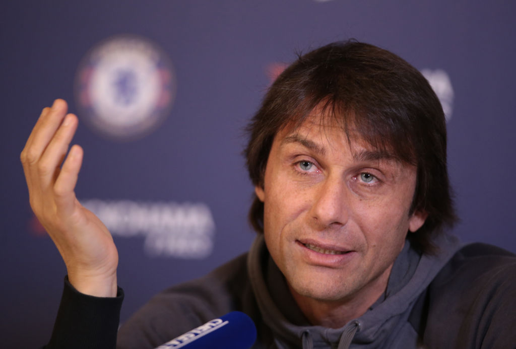 Antonio Conte, manager of Chelsea during a press conference at Cobham Training Ground on February 24, 2017 in Cobham, England. (Photo by Kieran Galvin/NurPhoto via Getty Images)