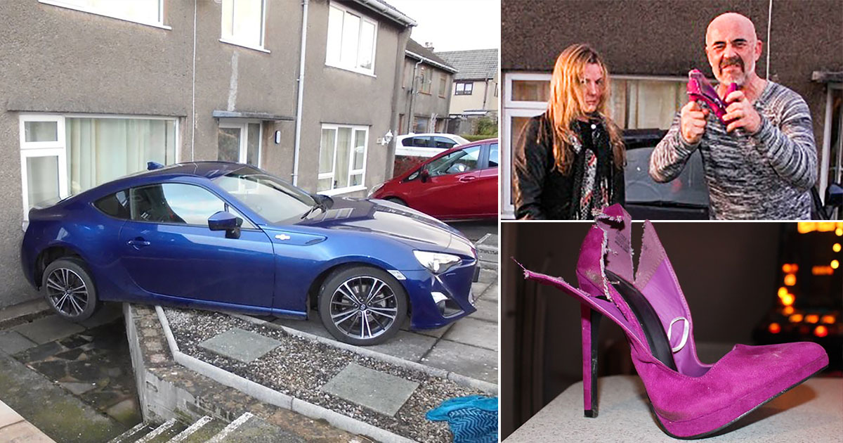 Man cuts up girlfriend's heels after they caused her to crash