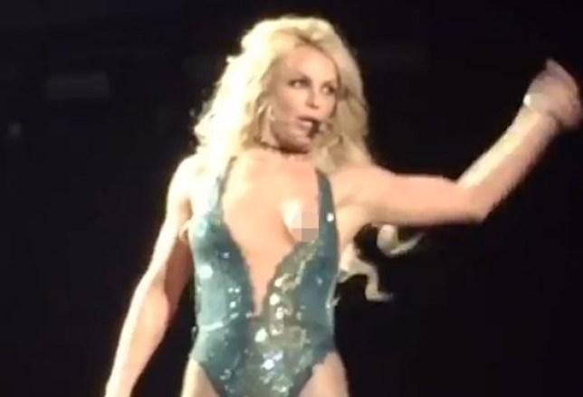 Britney Spears has a nip slip on stage