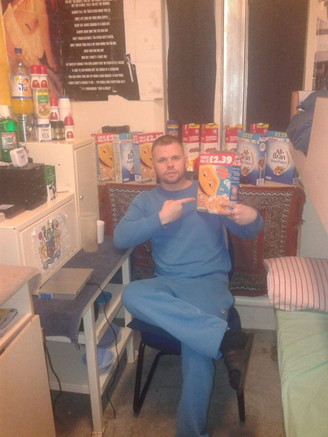 Facebook picture from an open profile of Jack Brooks who has been recalled to prison after he attacked man at a probation hostel following his release from jail. Brooks posted a picture of himself in jail with boxes of ceral an d other home comforts. Disclaimer: While Cavendish Press (Manchester) Ltd uses its' best endeavours to establish the copyright and authenticity of all pictures supplied, it accepts no liability for any damage, loss or legal action caused by the use of images supplied. The publication of images is solely at your discretion. For terms and conditions see http://www.cavendish-press.co.uk/pages/terms-and-conditions.aspx