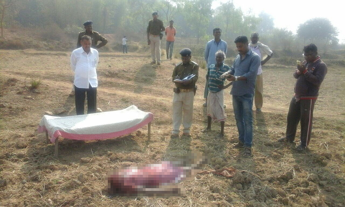 """***GRAPHIC IMAGE*** The body of Charumani Mardi. A jealous husband who decapitated his """"cheating"""" wife with an AXE before carrying her head to the local court to hand himself in, police have claimed. See SWNS story SWBEHEAD; Brutal Bhubhan Mardi, 38, attacked his wife Charumani Mardi on Sunday following a heated argument over her alleged extra-marital relationship. He bagged his wife's severed head along with the murder weapon and made his way to court to surrender. But police were tipped off about the killing and intercepted and arrested Mardi along the way. His wife's body was found in a paddy field near the couple's marital home in the Bandhmutu village near Ghatshila in the east Indian state of Jharkhand. Sanjiv Besra, deputy superintendent of police at Ghatshila, said, """"Mardi was heading to court to surrender."""