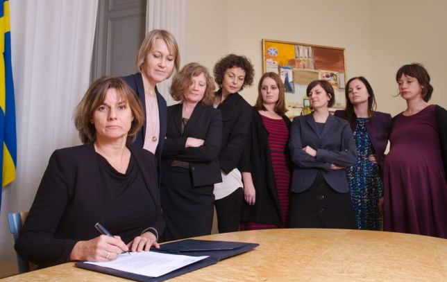 "Swedish Environment Minister and Deputy Prime Minister Isabella Lovin (L) signs a referral of Swedish climate law, binding all future governments to net zero emissions by 2045 at the ministry in Stockholm on February 1, 2017. The bill signing was witnessed by seven female colleagues, imitating a viral photograph of US President Donald Trump signing an executive order on January 23 at the White House under the watchful eye of his all-male colleagues / AFP PHOTO / Johan SCHIFF, Regeringen / RESTRICTED TO EDITORIAL USE - MANDATORY CREDIT ""AFP PHOTO /Johan SCHIFF, Regeringen"" - NO MARKETING NO ADVERTISING CAMPAIGNS - DISTRIBUTED AS A SERVICE TO CLIENTS JOHAN SCHIFF, REGERINGEN/AFP/Getty Images"