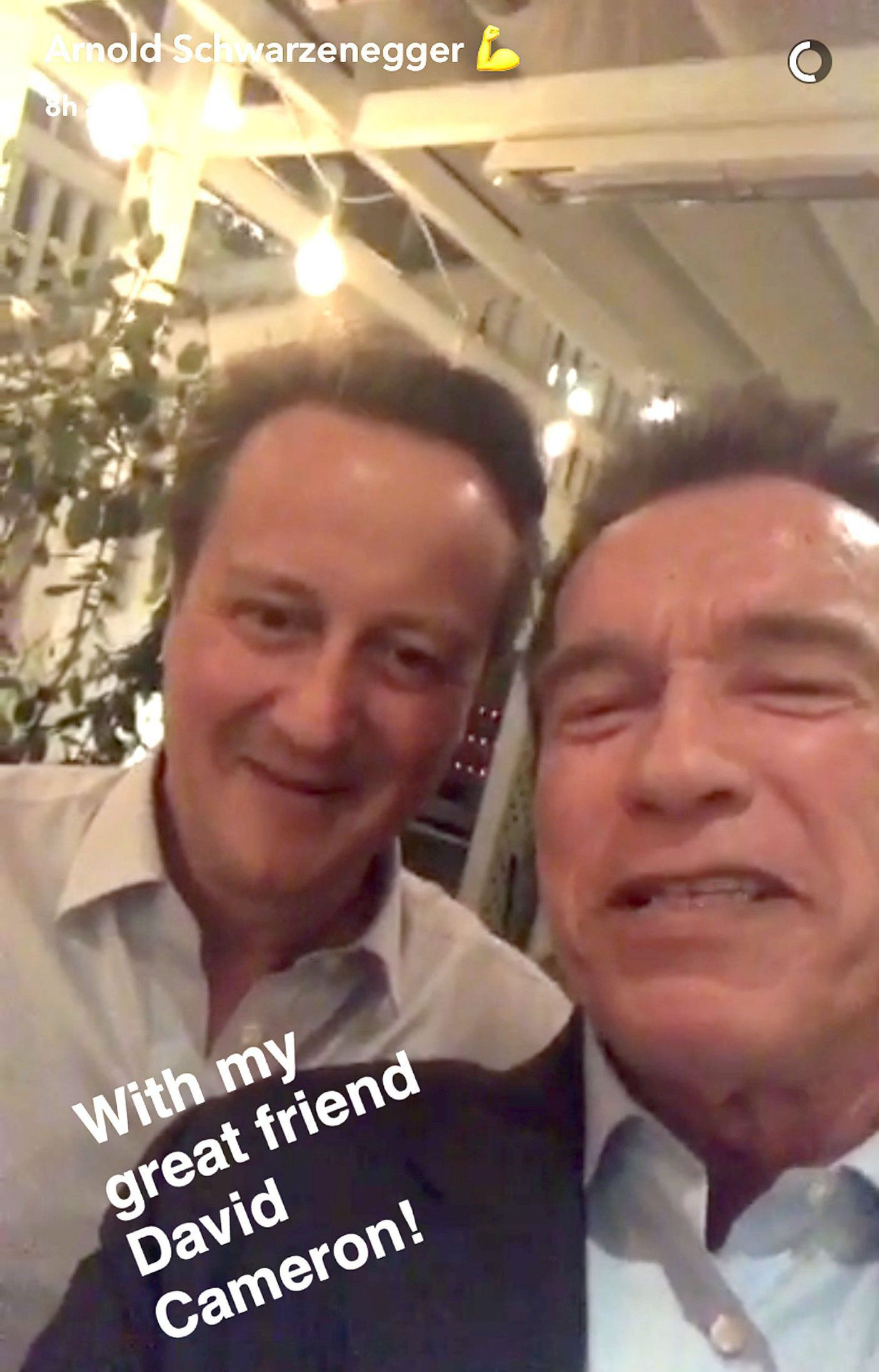 "Undated screengrab taken from Arnold Schwarzeneggerís Snapchat video with David Cameron (left). PRESS ASSOCIATION Photo. Issue date: Friday February 3, 2017. David Cameron promised he will ""be back"" as he channelled Arnold Schwarzenegger's Terminator in a video with the Hollywood star. The pair appeared together in a Snapchat video posted on the actor's account on Friday captioned ""with my great friend David Cameron"". Mr Cameron tells the ex-Republican governor's followers: ""I'm here with the governor, he did a great job and I'll be back."" See PA story SHOWBIZ Cameron. Photo credit should read: Arnold Schwarzenegger/PA Wire NOTE TO EDITORS: This handout photo may only be used in for editorial reporting purposes for the contemporaneous illustration of events, things or the people in the image or facts mentioned in the caption. Reuse of the picture may require further permission from the copyright holder."