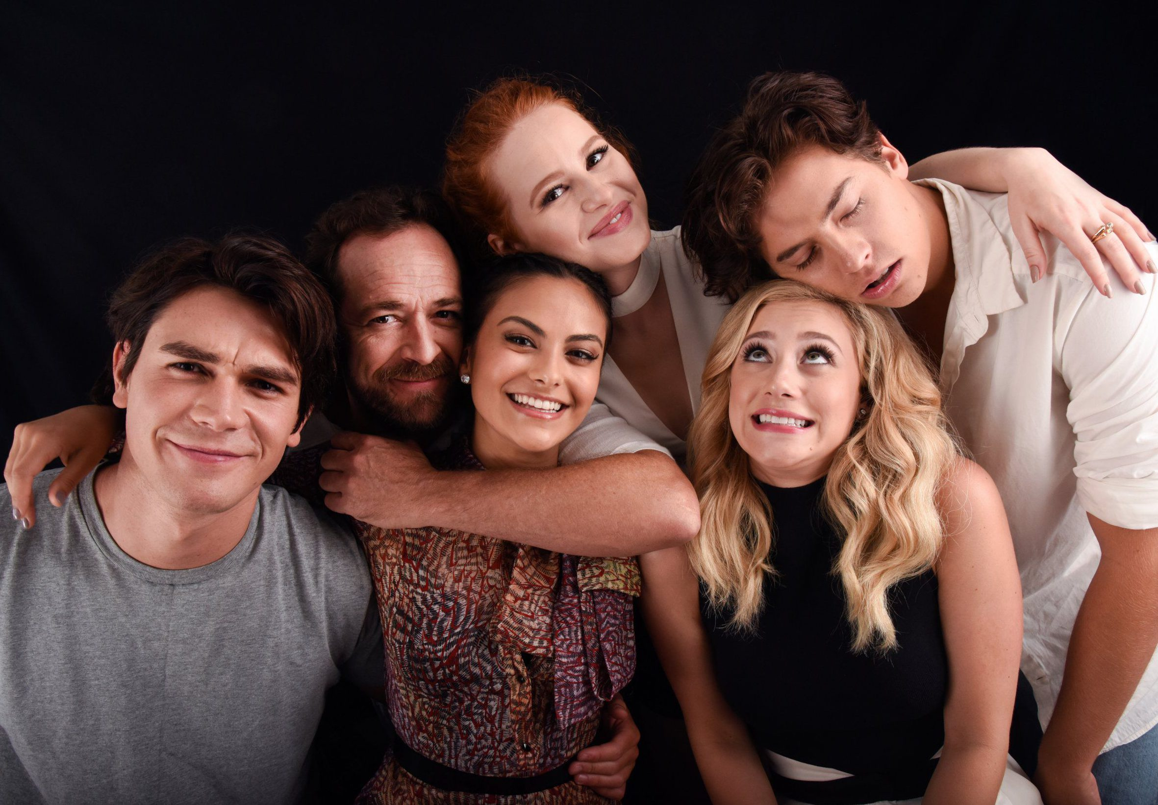 Mandatory Credit: Photo by Stephen Lovekin/TVLine/REX/Shutterstock (5780835bk)nLuke Perry, K.J. Apa, Madelaine Petsch, Camila Mendes, Cole Sprouse and Lili Reinhart from the cast of 'Riverdale'nPortrait Studio, Day 3, Comic-Con International, San Diego, USA - 23 Jul 2016nn