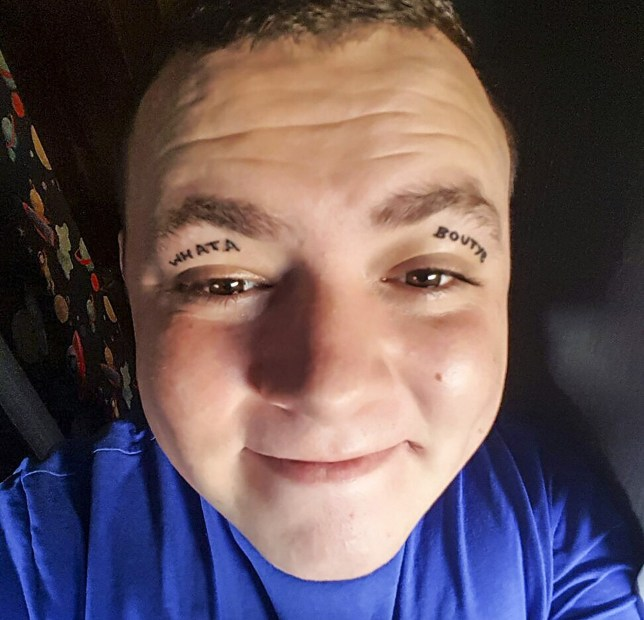 PIC FROM MERCURY PRESS (PICTURED: STEVEN LAVERTY, 24 WITH THE TATTOO ON HIS EYE LIDS READING ' WHAT ABOUT YE', A NORTHERN IRISH TERM MEANING 'HOW ARE YOU?') A dad-of-one is worried a Benidorm stag do stunt he took too far may have scuppered his chances of finding love ñ as he got a ëdaftí tattoo on his EYELIDS. Steven Laverty sneaked off during the three-day drinking binge to get the Northern Irish phrase 'what about ye' inked across both eyelids despite a warning from pals ñ and his mother ñ not to do it. Steven, from east Belfast, was in Spain as part of a 15-strong group celebrating his cousin James's upcoming marriage. And the call centre worker came home with an unwanted present after he drunkenly decided to go ahead with the Ä22 tattoo. SEE MERCURY COPY