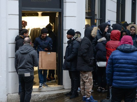 Masses of people swarm 18montrose in Nottingham this weekend get their hands on the first pairs of the latest Kanye West trainers