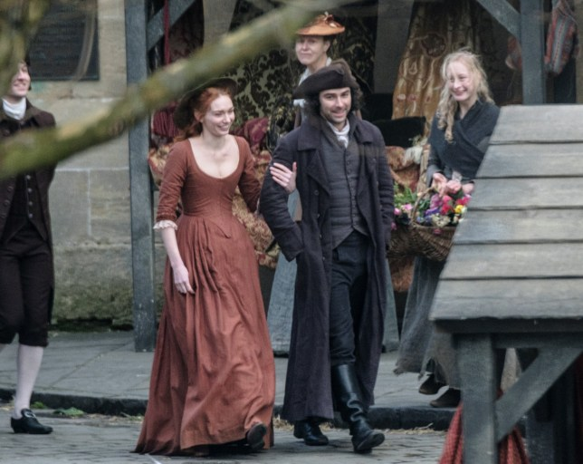 Picture Shows: Eleanor Tomlinson, Aiden Turner February 10, 2017 The cast of the hit series, Poldark, are seen on set during the filming of season 3 in Wells, Somerset, England, UK. Non Exclusive WORLDWIDE RIGHTS Pictures by : FameFlynet UK © 2017 Tel : +44 (0)20 3551 5049 Email : info@fameflynet.uk.com