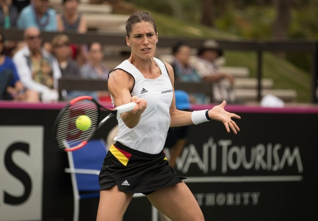 Feb 11, 2017; Maui, HI, USA; Andrea Petkovic (GER) in action during her match against Alison Riske (USA) at the USA vs Germany Fed Cup tie at the Royal Lahaina Resort. Mandatory Credit: Susan Mullane-USA TODAY Sports