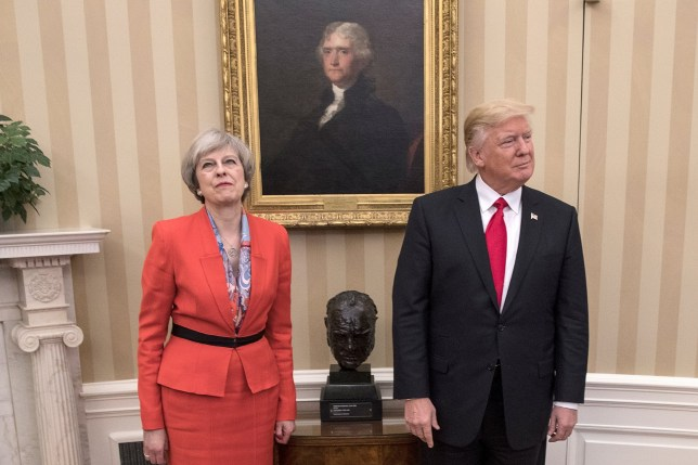 WASHINGTON, DC - JANUARY 27: British Prime Minister Theresa May with U.S. President Donald Trump in The Oval Office at The White House on January 27, 2017 in Washington, DC. British Prime Minister Theresa May is on a two-day visit to the United States and will be the first world leader to meet with President Donald Trump. (Photo by Christopher Furlong/Getty Images)