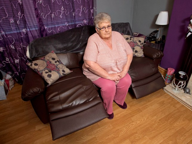 "Online usage fee £75 per image. Christine Douglas from Coatbridge whom bought a sofa from ARGOS but it broke, a Argos employee blamed the damage on the ""very large"" customer Pictured: Christine at home with the couch in question"