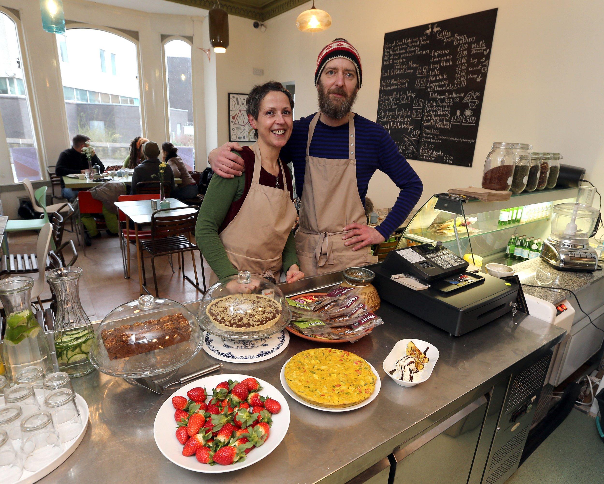 Dawn Silver and Matt Ward of Goat vegan cafe, 53, Trinity Street, Huddersfield.