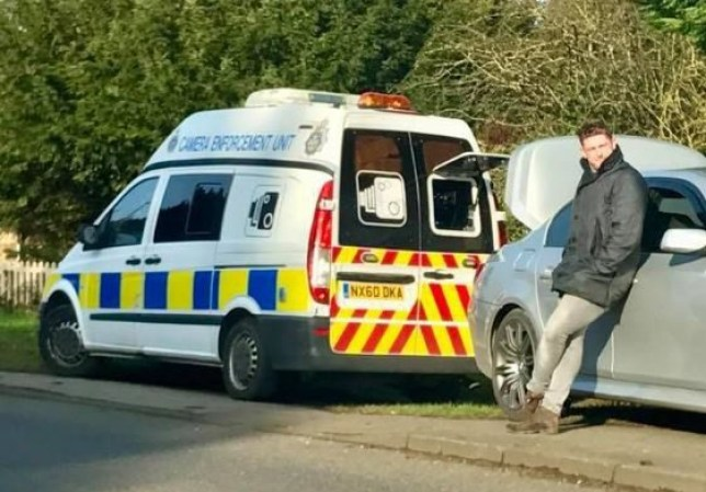 Five years ago, Chris Welford was hit with a speeding ticket.nnSo when he noticed a mobile speed camera parked up on that very same road, he decided to take ¿revenge¿.nnCheeky Chris parked his BMW a few feet behind Cleveland Police¿s van, lifted up his bonnet - and blocked the camera.Chris Welford, 23, lifted his front bonnet to block a Cleveland Police speed camera on a Skelton road.