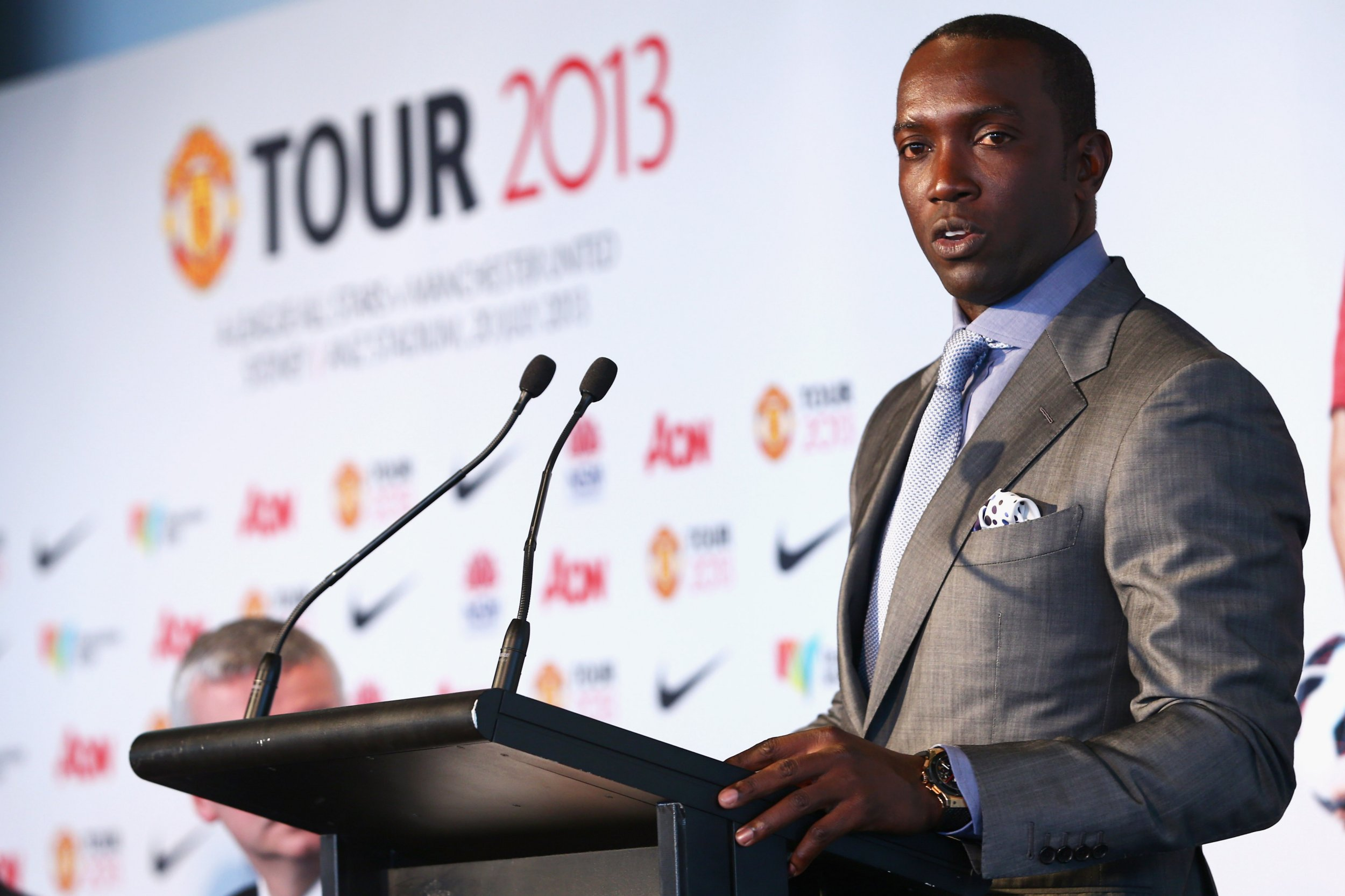SYDNEY, AUSTRALIA - DECEMBER 10: Dwight Yorke speaks to the media during a press conference at Museum of Contemporary Art on December 10, 2012 in Sydney, Australia. Manchester United will play an A-League All-Stars match in Sydney on July 20, 2013. (Photo by Mark Kolbe/Getty Images)