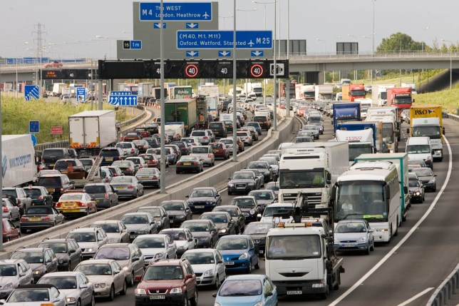 LONDON, ENGLAND - JUNE 21: Traffic congestion at a standstill in both directions on M25 motorway, London, United Kingdom (Photo by Tim Graham/Getty Images)