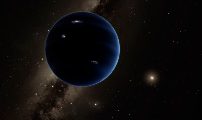 "This artistic rendering provided by California Institute of Technology shows the distant view from Planet Nine back towards the sun. The planet is thought to be gaseous, similar to Uranus and Neptune. Hypothetical lightning lights up the night side. Scientists reported Wednesday, Jan. 20, 2016, they finally have ""good evidence"" for Planet X, a true ninth planet on the fringes of our solar system. (R. Hurt/Infrared Processing and Analysis Center/Courtesy of California Institute of Technology via AP)"