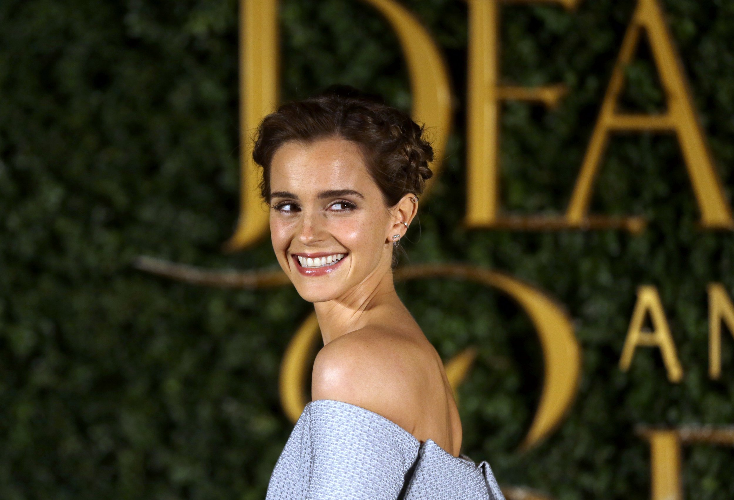 Emma Watson arrives for the Beauty And The Beast Premiere, in London, Thursday, Feb. 23, 2017. (AP Photo/Alastair Grant)