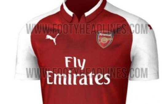7eab05a55 A leaked design of Arsenal s new home kit depicts a two-tone collar  (Picture  Footyheadlines.com)