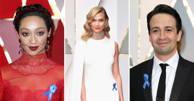 (Picture: Getty/ Barcroft/ Rex) Why is everybody wearing blue ribbons on the Oscars red carpet?