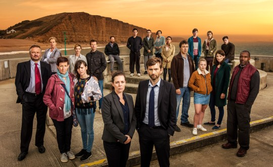 ITV BROADCHURCH SERIES 3 Pictured L-R: CHARLIE HIGSON as Ian,CAROLYN PICKLES as Maggie,JULIE HESMONHALGH as Trish,SARAH PARISH as Cath,HANNAH MILLWARD as Leah, MARK BAZELEY as Jim,JIM HOWICK as Aaron,OLIVIA COLMAN as DS Ellie Miller,SEBASTIAN ARMESTO as Clive,DEON WILLIAMS as Michael,DAVID TENNANT as DI Alec Hardy,BECKY BRUNNING as Lindsay,GEORGINA CAMPBELL as DC Katie Harford,ANDREW BUCHAN as Mark,ADAM WILSON as Tom,CHARLOTTE BEAUMONT as Chloe,HANNAH RAE as Daisy, JODIE WHITTAKER as Beth,CHRIS MASON as Leo and LENNYHENRY as Ed. This photograph is (C) ITV Plc and can only be reproduced for editorial purposes directly in connection with the programme or event mentioned above. Once made available by ITV plc Picture Desk, this photograph can be reproduced once only up until the transmission [TX] date and no reproduction fee will be charged. Any subsequent usage may incur a fee. This photograph must not be manipulated [excluding basic cropping] in a manner which alters the visual appearance of the person photographed deemed detrimental or inappropriate by ITV plc Picture Desk. This photograph must not be syndicated to any other company, publication or website, or permanently archived, without the express written permission of ITV Plc Picture Desk. Full Terms and conditions are available on the website www.itvpictures.com For further information please contact: Patrick.smith@itv.com 0207 1573044