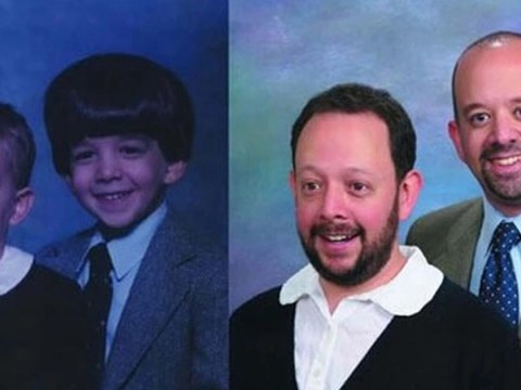 Two brothers hilariously recreate their childhood photos as a gift for their parents