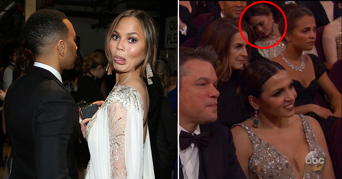 Chrissy Teigen on form at the oscars (and sleeping at the oscars)