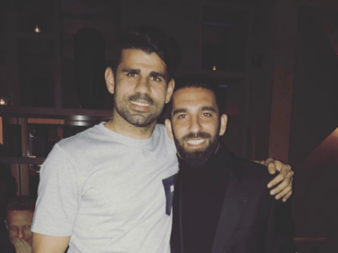 Chelsea's Diego Costa poses with Arda Turan after recent Barcelona transfer rumours