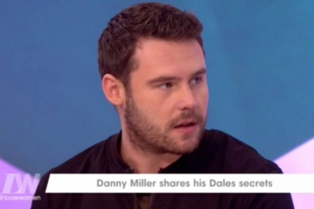 Emmerdale star Danny Miller dropped in to see the Loose Women ladies and offer his two pence on the ongoing Danny Dyer situation (Picture: ITV)