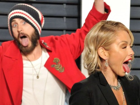 Just Jared Leto photobombing some poor woman at the Vanity Fair Oscars after-party
