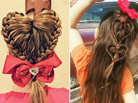 Dads are styling their daughters' hair into hearts ready for Valentine's Day