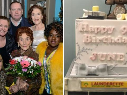 EastEnders cast surprise June Brown with a WASHING MACHINE birthday cake that Dot Cotton would be proud of