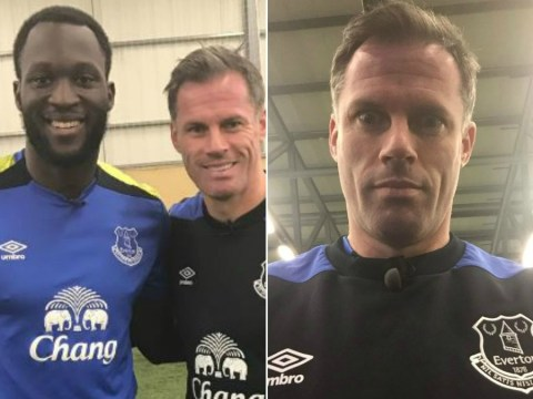 Jamie Carragher pictured in full Everton kit following Liverpool's defeat at Leicester