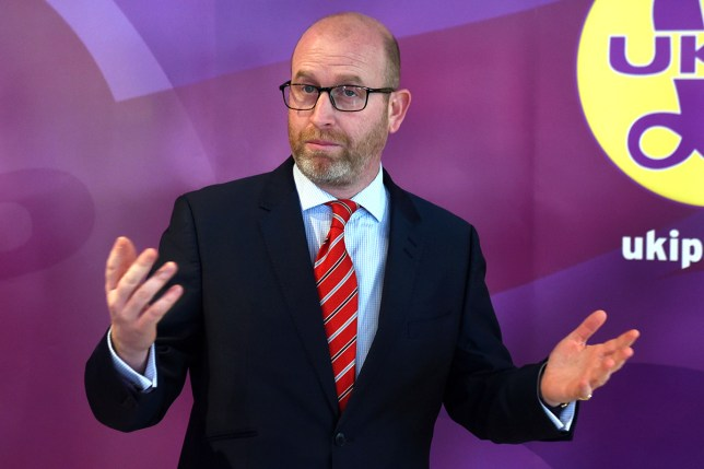 (Picture: PA) Stoke Central by-election candidate and party leader Paul Nuttall, laying out his party's plan for Brexit at the Ukip campaign shop in Stoke.