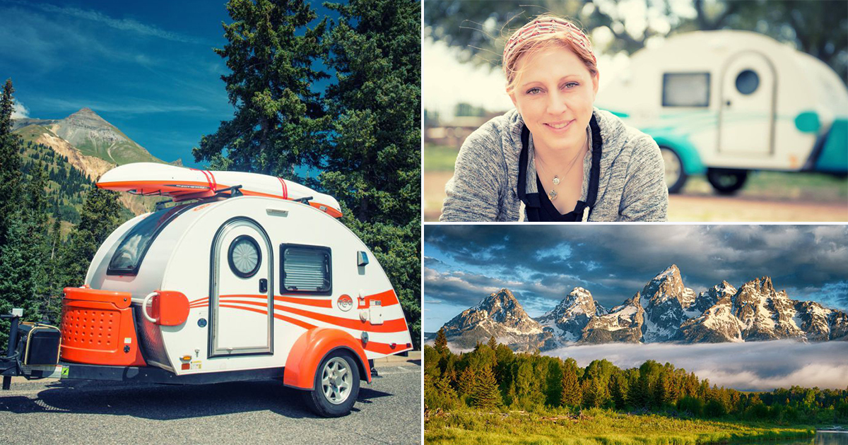 Woman quits her job to travel the world in a teardrop trailer