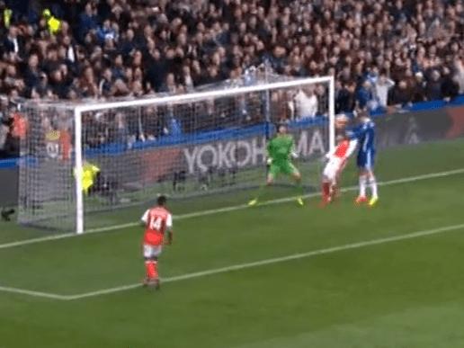 Exposed: Theo Walcott's criminal lack of effort for Chelsea's opening goal against Arsenal