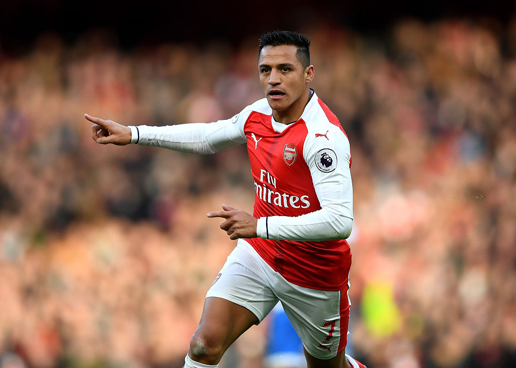 LONDON, ENGLAND - NOVEMBER 27: Alexis Sanchez of Arsenal celebrates scoring his sides first goal during the Premier League match between Arsenal and AFC Bournemouth at Emirates Stadium on November 27, 2016 in London, England. (Photo by Shaun Botterill/Getty Images)