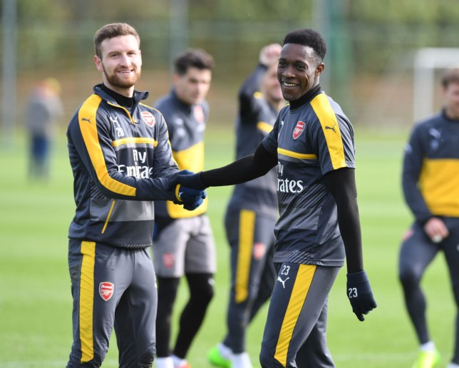 ST ALBANS, ENGLAND - MARCH 01: (L-R) Shkodran Mustafi and Danny Welbeck of Arsenal during a training session at London Colney on March 1, 2017 in St Albans, England. (Photo by Stuart MacFarlane/Arsenal FC via Getty Images)