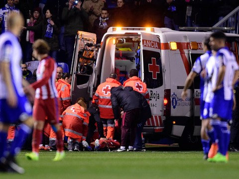 Fernando Torres rushed to hospital after sickening clash of heads during Atletico Madrid match