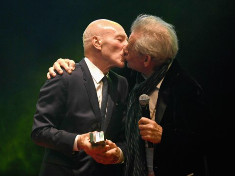 Everyone's fave BFFs Ian McKellen and Patrick Stewart snog at Empire Awards