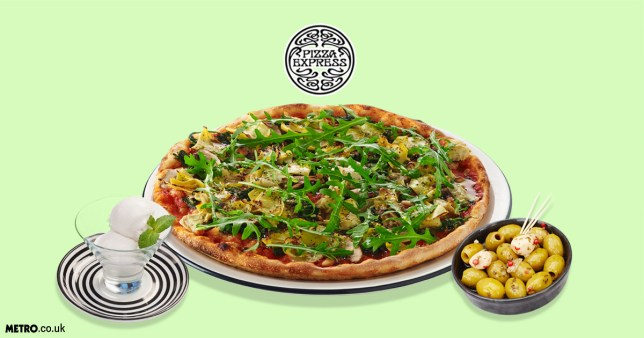 vegan menu at Pizza Express