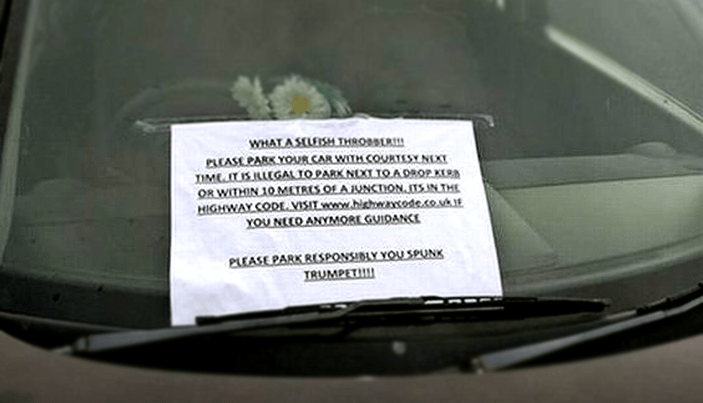 Driver gets called 'selfish throbber' in parking note filled with offensive gems Picture: unknown source