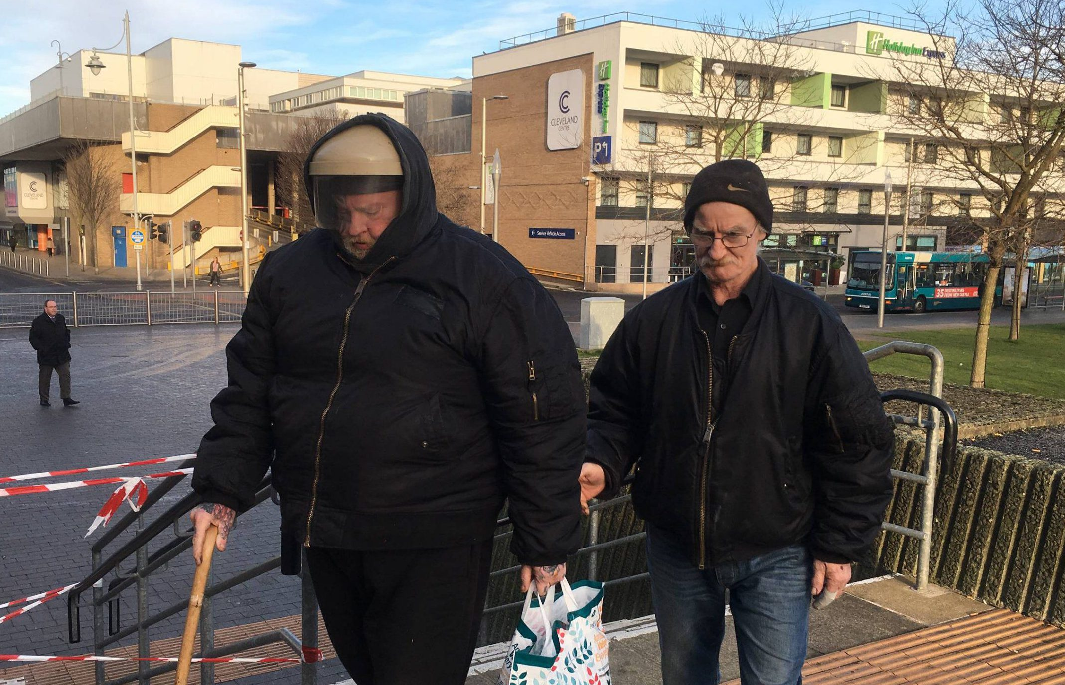 Dated: 01/03/2017 Richard Finch (left), 60, and Michael Heathcock, 59, arrive at Teesside Court this morning (WED) where they were both jailed for four months after admitting to animal cruelty after Heathcock's dog Scamp was found buried alive in woodlands with a nail through its head. See story and video by North News