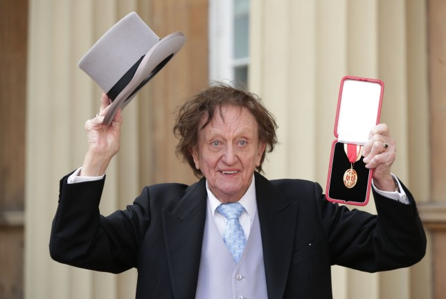 Veteran entertainer Sir Ken Dodd at Buckingham Palace, London, after he was made a Knight Bachelor of the British Empire by the Duke of Cambridge. PRESS ASSOCIATION Photo. Picture date: Thursday March 2, 2017. See PA story ROYAL Investiture. Photo credit should read: Yui Mok/PA Wire